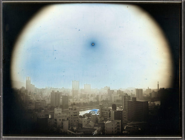 March 23  2014  The sun at the apparent altitude of 570m in WNW  Hijiyama Park  Hiroshima, Daguerreotype, unique, 19.3 x 25.2 cm ©Takashi Arai