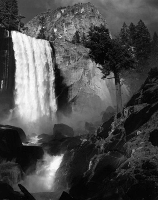 "Vernal Fall, c. 1948, gelatin silver print, 8 x 10"" on 14 x 17"" mat, ©The Ansel Adams Publishing Rights Trust"
