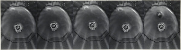 Bubbles of Water 101,  2002, gelatin silver print on watercolor paper with glue, 187×678mm limited edition #1/1 ©Yoshihiko Ito
