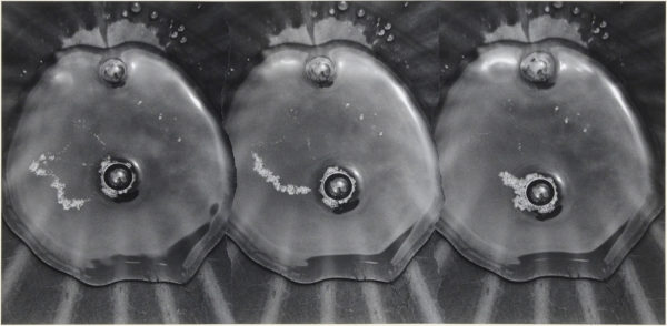 Bubbles of Water 118 S-II,  2003, gelatin silver print on watercolor paper with glue, 161×330mm limited edition #1/1 ©Yoshihiko Ito