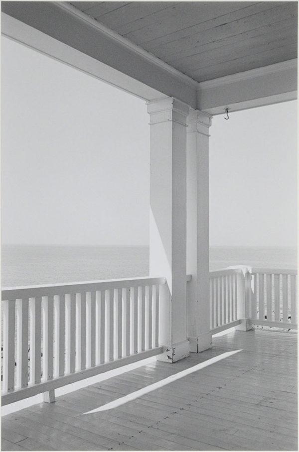 "Porch  Mohegan Island  Maine  1971, gelatin silver print:1987, 9 x 13 1/2"" on board ©George Tice"