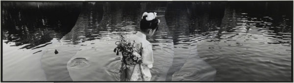 Grebe and a Girl  2007, gelatin silver print on watercolor paper with glue, 115×405mm limited edition #1/1 ©Yoshihiko Ito