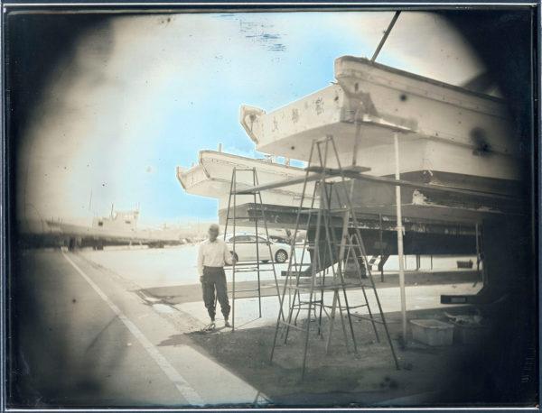 2012年6月27日  南相馬市鹿島区海老  漁船の修理  渡部克彦, ダゲレオタイプ, unique, 19.3 x 25.2 cm ©Takashi Arai