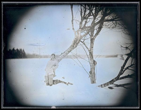 2016年1月27日  桜の倒木と菊川慶子,  六ヶ所村, ダゲレオタイプ, unique, 19.3 x 25.2 cm ©Takashi Arai