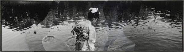 カイツブリと少女  2007, Gelatin silver print on watercolor paper with glue, 115×405mm, limited edition #1/1 ©Yoshihiko Ito