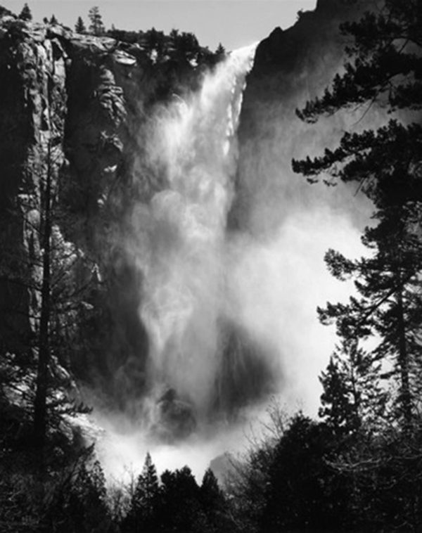 "Bridalveil Fall, c.1927, gelatin silver print, 8 x 10"" on 14 x 17"" mat ©The Ansel Adams Publishing Rights Trust"