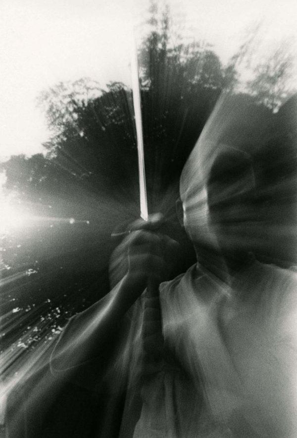 近くて遙かな旅<刀> 1968, gelatin silver print:1998, 11 x 14 in, ©Narahara Ikko Archives