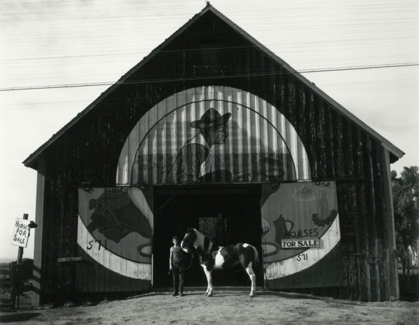 """Chief"" Heggen's Barn, Salinas, 1939, gelatin silver print by Cole Weston in 1970s - 1980, 7 1/2 x 9 1/2 in, ©1981 Center for Creative Photography, Arizona Board of Regents"
