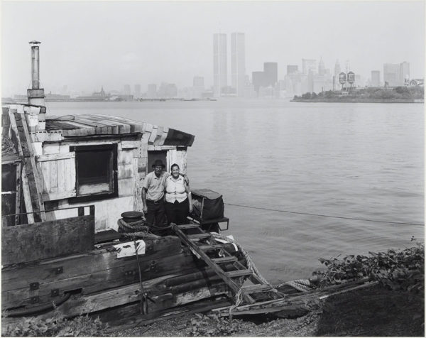 "Charlie & Violet on Their House Boat  New York  1979, gelatin silver print:1981, 10 1/2 x 13 1/4"" on board ©George Tice"