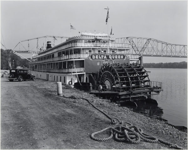 "Delta Queen  Hannibal  Missouri  1987, gelatin silver print:1987, 10 1/2 x 13 1/4"" on board ©George Tice"