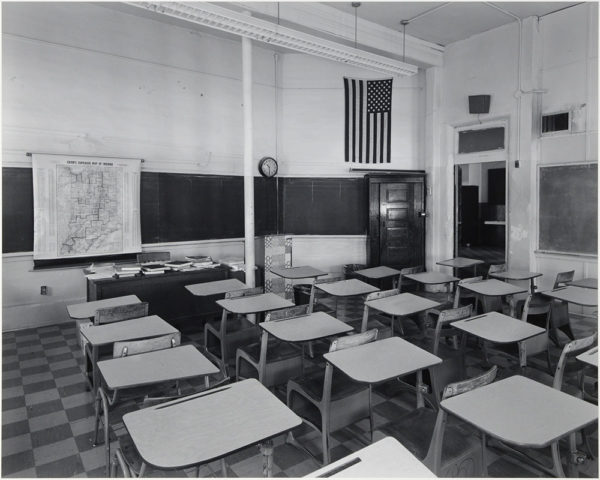 "Fairmount High School  Indiana  1985, gelatin silver print:1986, 10 1/2 x 13 1/4"" on board ©George Tice"