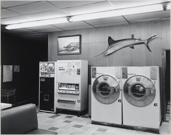 "First Street Coin Wash  Dixon  Illinois  1985, gelatin silver print:1987, 10 1/2 x 13 1/2"" on board ©George Tice"