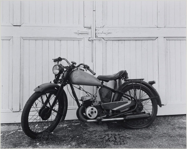 "James Dean's Motorcycle  Fairmount  Indiana  1985, gelatin silver print:1989, 10 1/2 x 13 1/4"" on board ©George Tice"