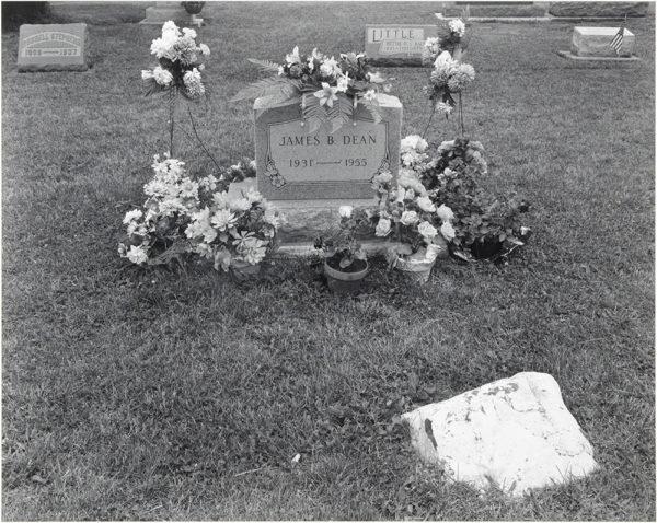 "Park Cemetery  Fairmount  Indiana  1985, gelatin silver print:1986, 10 1/2 x 13"" on board ©George Tice"