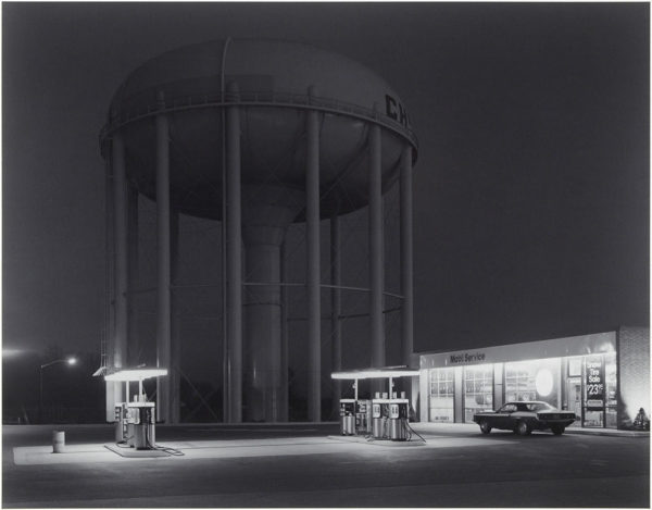 "Petit's Mobil Station  Cherry Hill  New Jersey  1974, gelatin silver print:1980, 10 1/2 x 13 1/2"" on board ©George Tice"