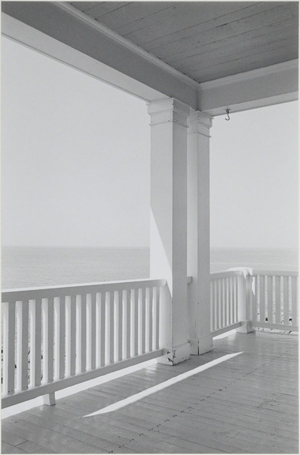 "Porch  Mohegan Island  Maine  1971, gelatin silver print:1987, 9 x 13 1/2"" on board ©George Tice"