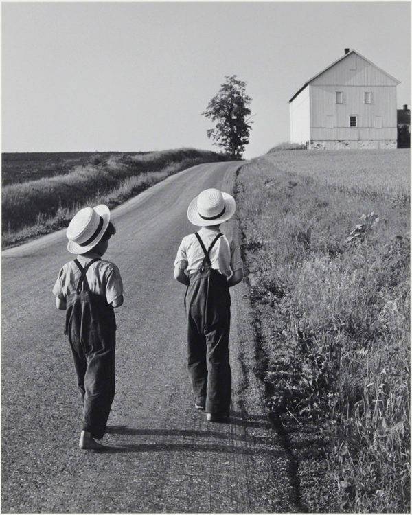 "Two Amish Boys  Lancaster  Pennsylvania  1962, gelatin silver print:1980, 7 1/2 x 9 1/2"" on board ©George Tice"