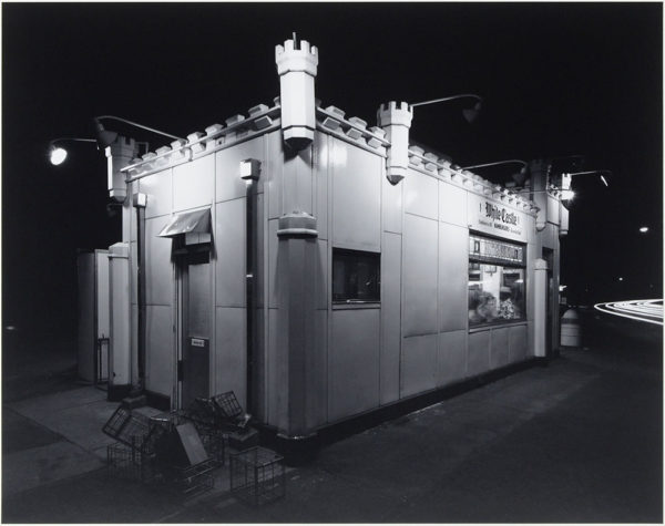 "White Castle  Route #1  Rahway  New Jersey  1973, gelatin silver print:1984, 7 3/4 x 9 1/2"" on board ©George Tice"